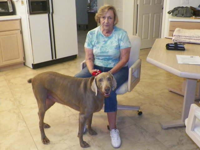 maggie with mom in forever home