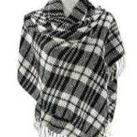 plaid soft wrap black white